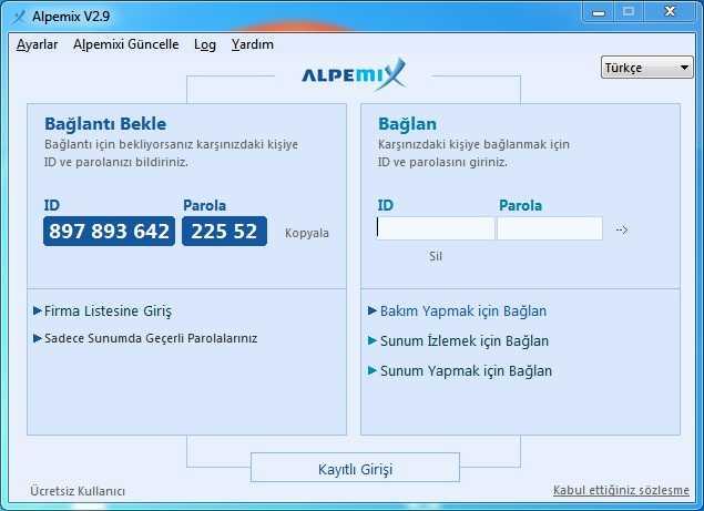 Alpemix – Uzak Bilgisayar Bağlantı Programı