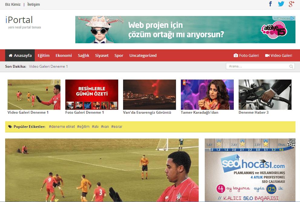 WordPress Ücretsiz Portal / Magazin / Haber Sitesi Teması: iPortal