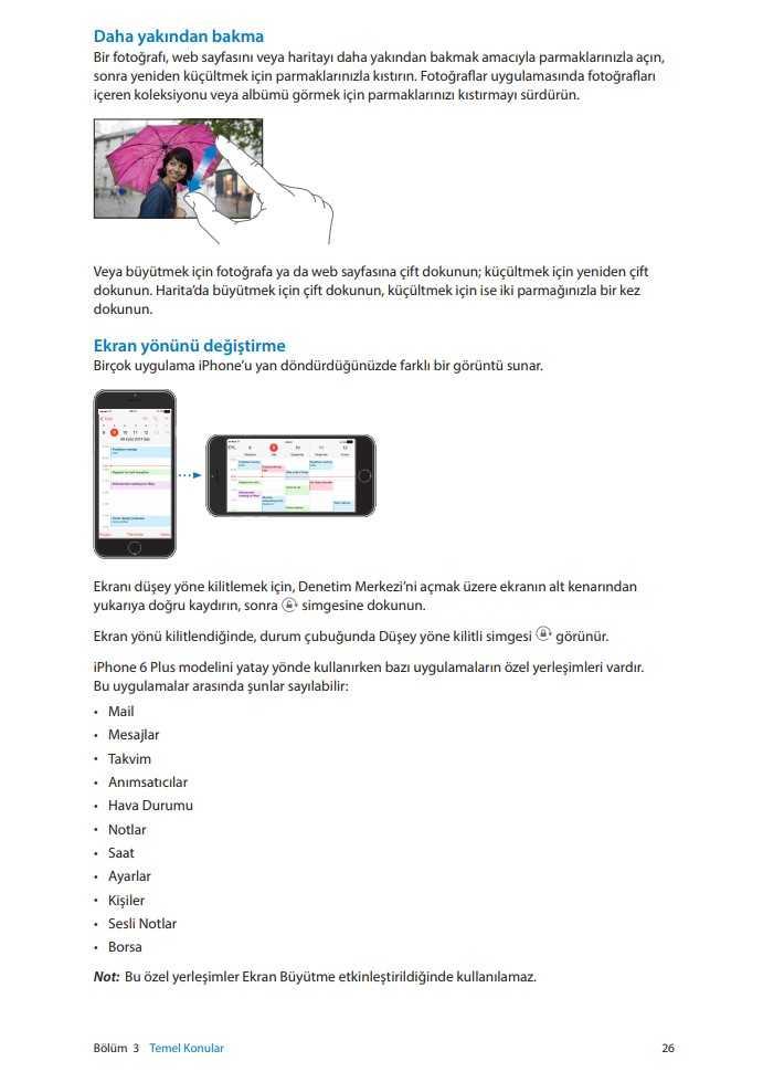 Apple iPhone 6 / 6S / 7 / 7 Plus / iOS Resimli Türkçe Kullanım Klavuzu