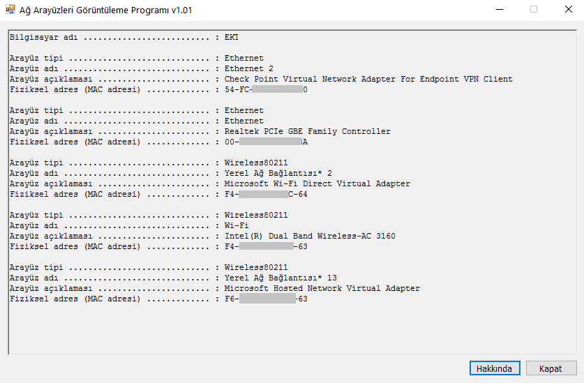 Mac Adresi ve Ağ Arayüzlerini Gösteren Program