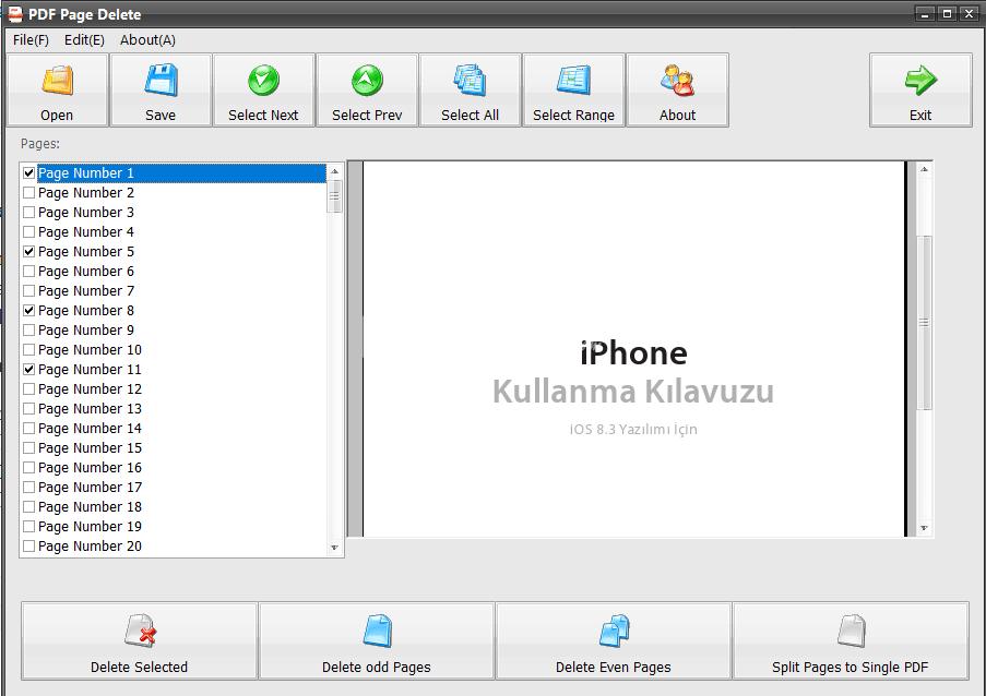 PDF Page Delete – PDF İçinden Sayfa Silme Programı
