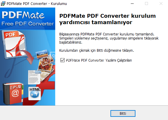 PDFMate – PDF'ten Word/TXT/EPUB/Resim/HTML/SWF Dönüştürücü