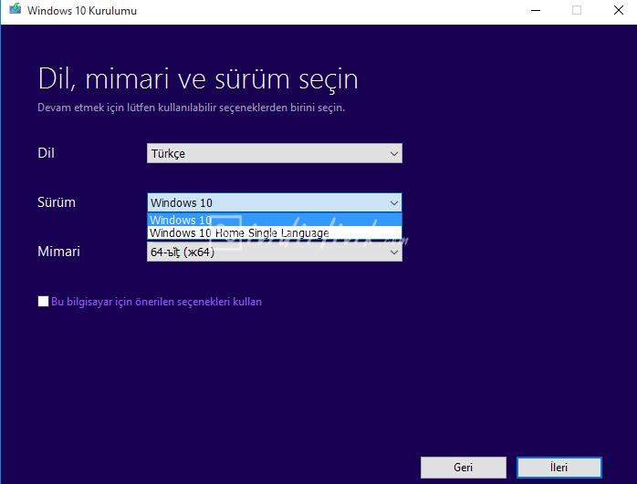 Media Creation Tool – Windows 10 ISO Oluşturma ve İndirme Programı