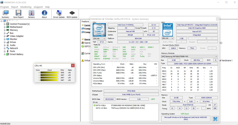 HWiNFO64 + Portable – Bilgisayar için Donanım Analizi, İzleme ve Raporlama Programı