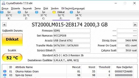 CrystalDiskInfo 7.8.3 + USB diskler hakkında ayrıntılı bilgiler edinirsiniz.