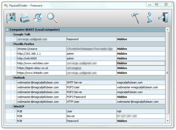 PasswdFinder. Find lost passwords – Şifre Bulucu, Kayıp şifreleri bulmanızı sağlar.