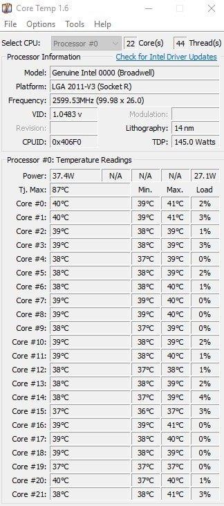 Core Temp – İşlemci Bilgi ve Sıcaklık Takip Programı