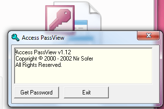 Access PassView v1.12 Access Password Discovery – Decoding Program – MDB