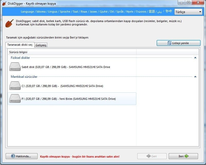 DiskDigger 1.7.2 Formatlanan Bilgisayardan Veri Kurtarma