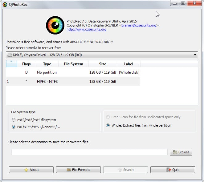 TestDisk ve PhotoRec 7.2
