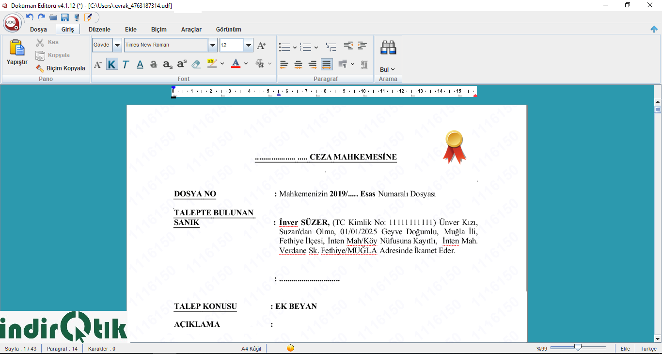 UDE – Uyap Döküman Editörü v4.2.2 – UYAP Vatandaş Portal da Açılmayan Dosyaları Açan Program